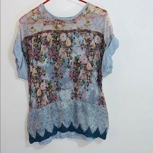 Zara   Gray Floral Print Front Cuffed Blouse Shirt